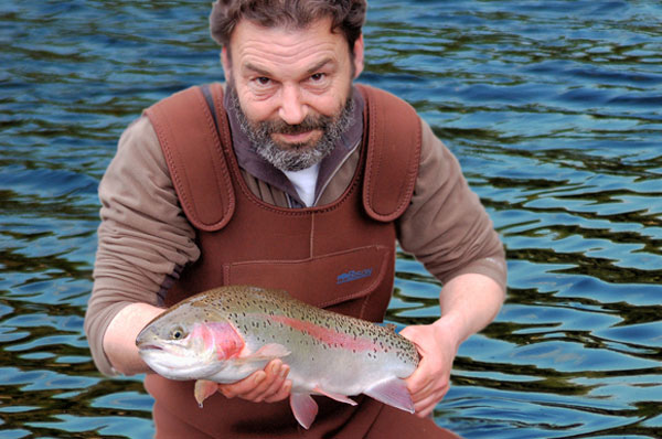 Mike with a nice Haddo Trout Fishery Rainbow